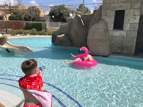 playing in the pool at pirates village majorca