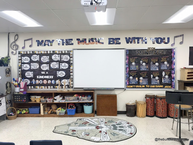 Star Wars classroom inspiration can be found in this blog post crammed with pictures.  Classroom organization, decorations and more are included. The force is strong in this music classroom.  Be inspired.