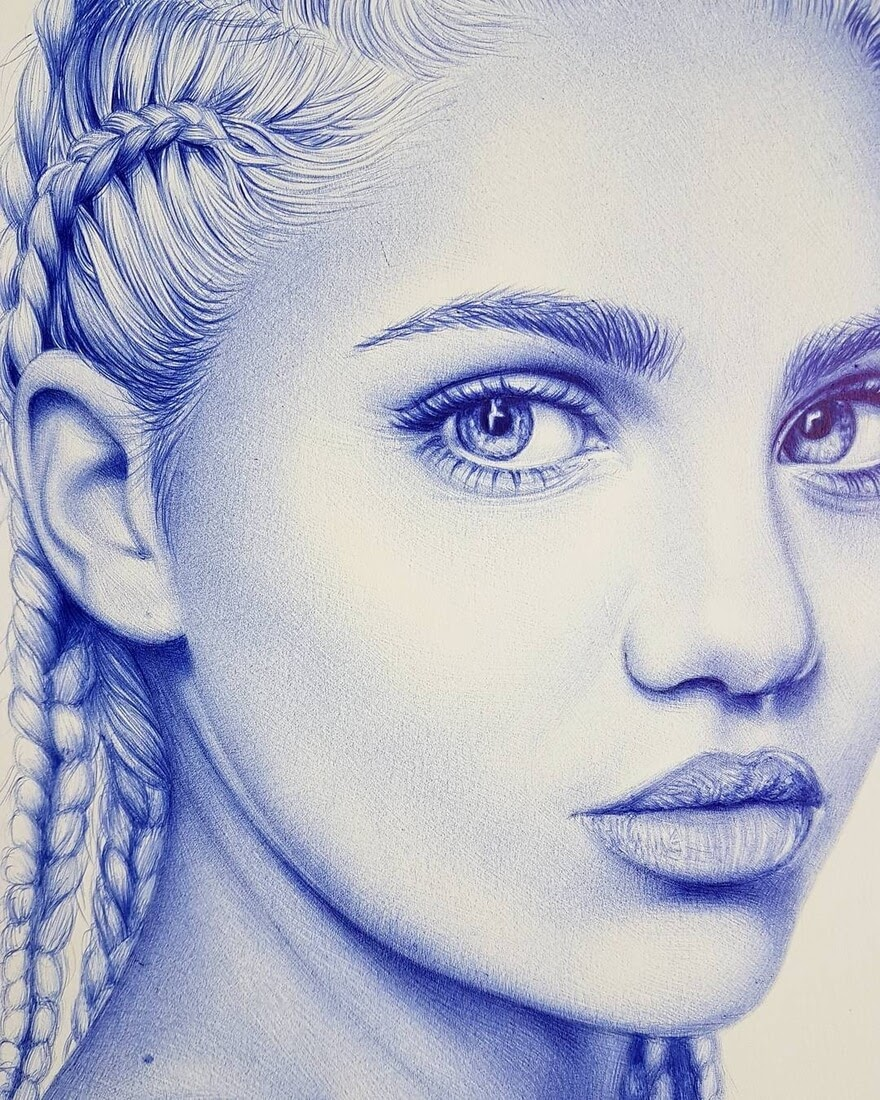 02-Amina-blue-detail-Eva-Garrido-Ballpoint-Bic-Pen-Portrait-Drawings-www-designstack-co