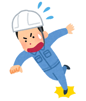 転ぶ作業員のイラスト(男性)
