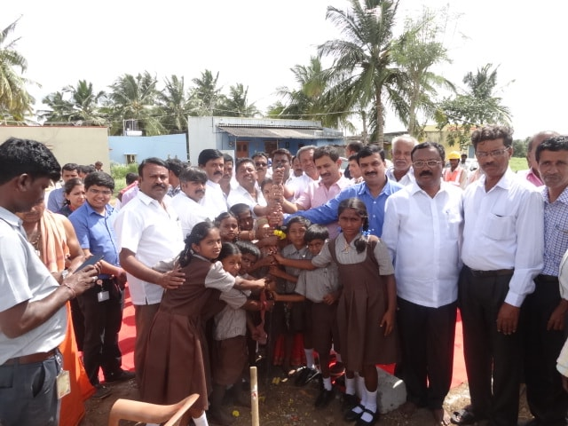 Ground Breaking Ceremony of Reconstruction of Govt School at Thalaguppe
