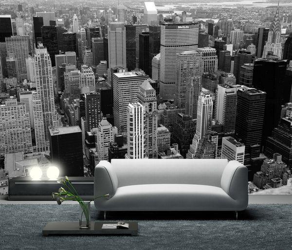 tapet new york utsikt manhattan fototapet svartvit vardagsrum 3d fondtapet stad