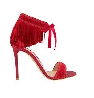 Gianvito Rossi Olivia Fringe Red High Heeled Sandals