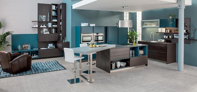 Cuisine moderne bois et bleu avec lot cuisine quip e for Cuisine moderne bleu