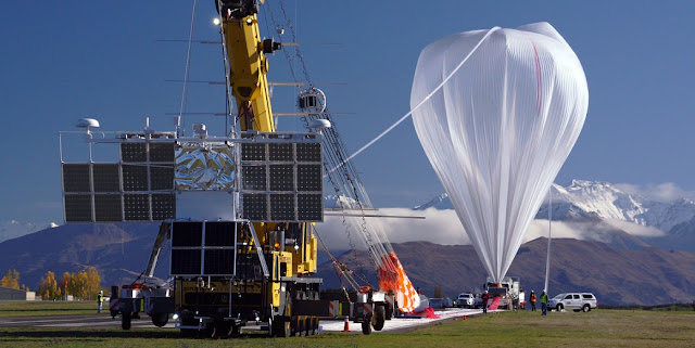 NASA is preparing to launch a super-pressure balloon to carry a pioneering telescope designed to detect ultra-high-energy cosmic rays from near space. The telescope's camera takes 400,000 images a second as it casts a wide view back toward the Earth. Credit: NASA