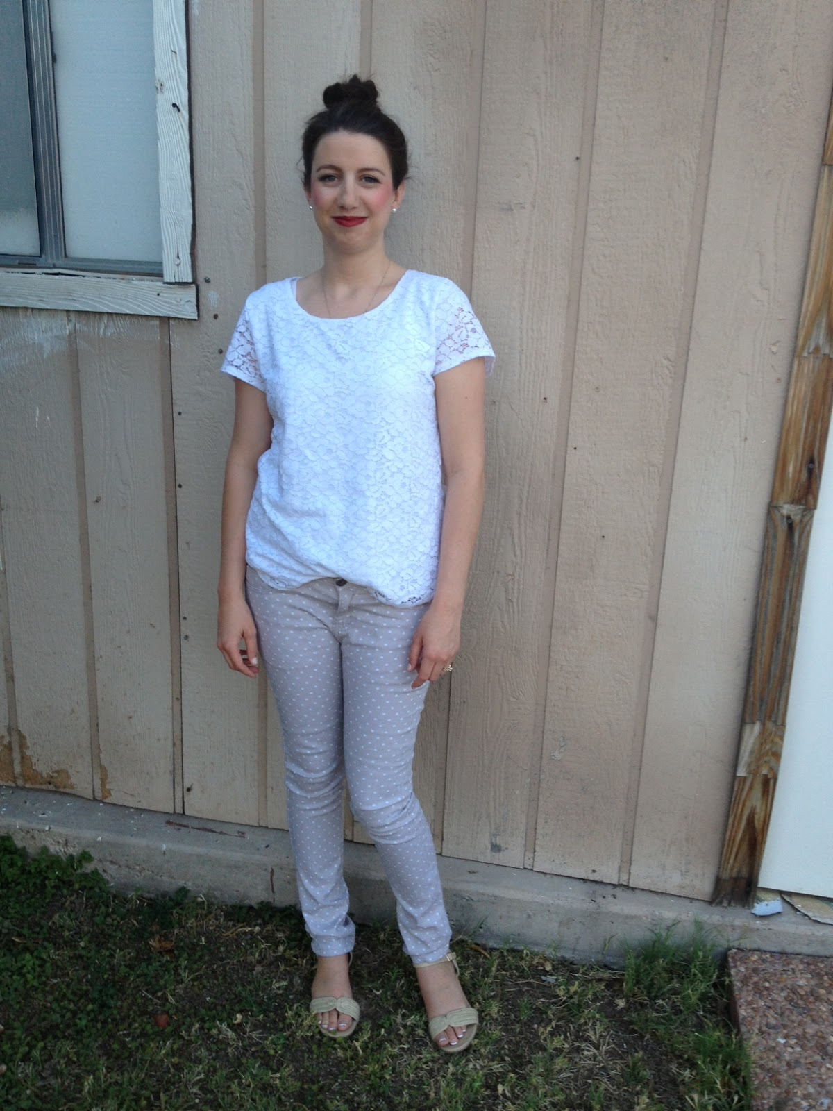 919a9095017 polka dot pants  Fallas Paredes ( 7.00) lace shirt  Wal-Mart ( 9.94) pearl  earrings  Forever 21 ( 2.80 for 10 pairs of pearls)