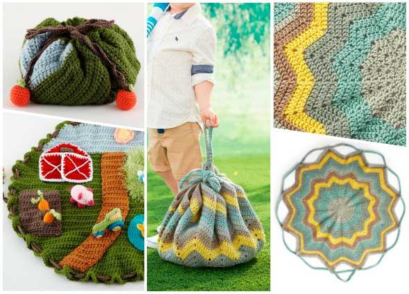 bolsas convertibles en mantas para picnics, patrones para crochet