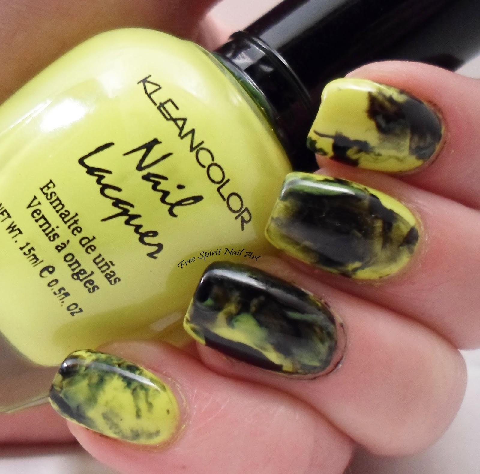 Free Spirit Nail Art: Neon and Black Marbled Nail Art