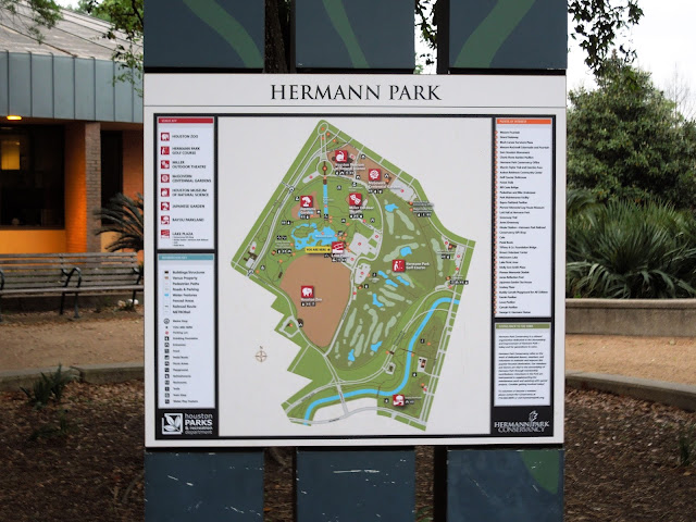 Map of Hermann Park Layout with points of interest and facilities shown