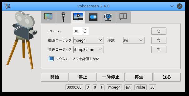 フレーム数、動画と音声の保存形式を指定する画面。vokoscreen