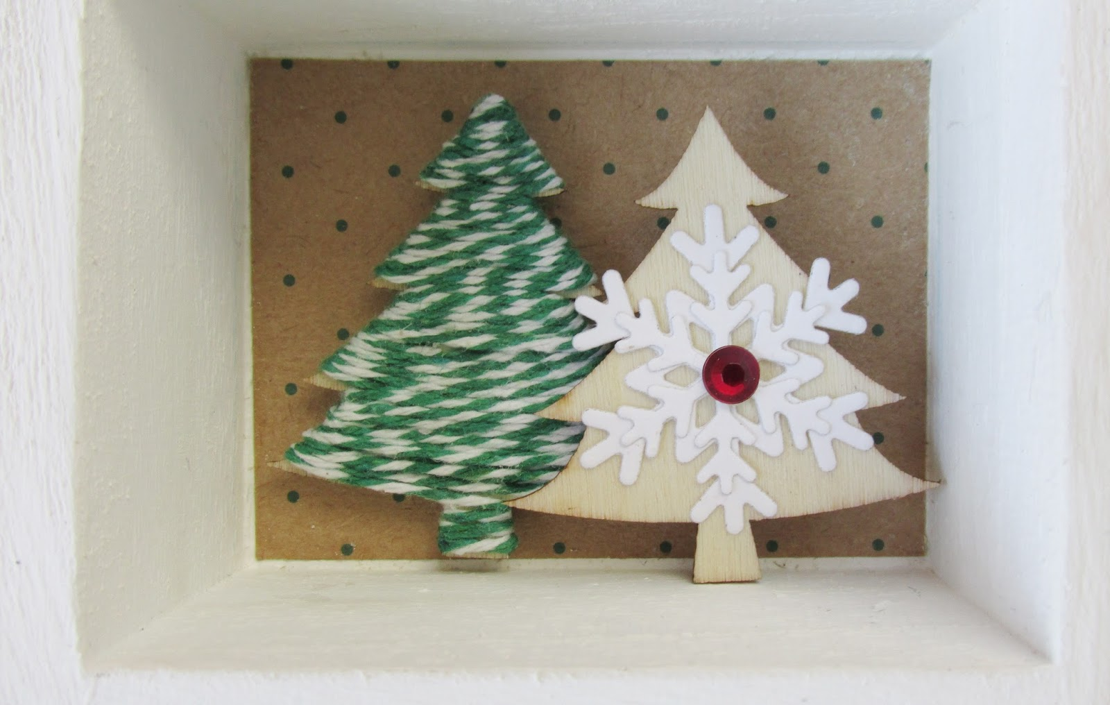 Wrap Green Twine Around A Wooden Christmas Tree Adding Spots Of Glue To Hold It Firmly In PlaceGlue This The Left Top Shelf
