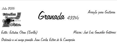 Granada 432 Hz de José Luis González Partitura de Guitarra