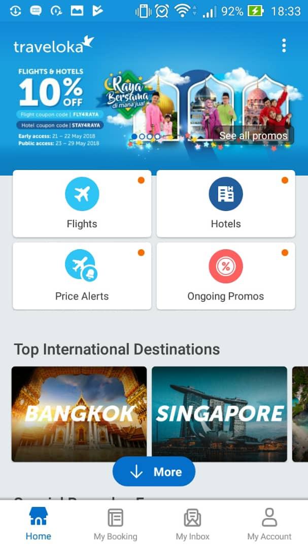Come on traveloka kan ada asyiqin 2 lepas sign up dan login korang akan di bawa ke home page boleh start search flight dan hotel fandeluxe Gallery