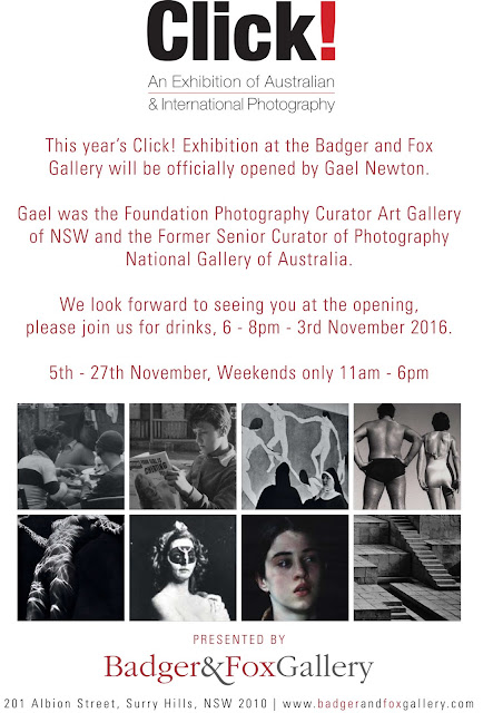 Flyer for Click exhibition at Badger & Fox Gallery Sydney.