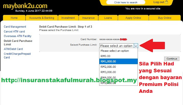 Cara Tukar Limit Debit Card Maybank maybank2u