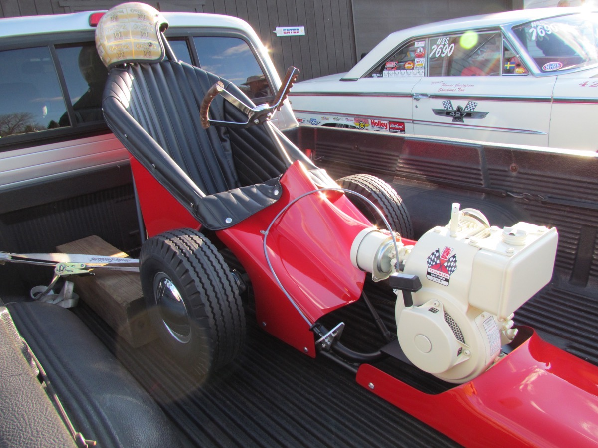 Just A Car Guy Mickey Thompson In His Mini Dragster 1955 Ford F100 With Thompsons