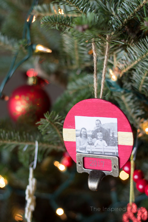 DIY Wooden Ornaments with label holders. Great for baby's first Christmas or other important events!