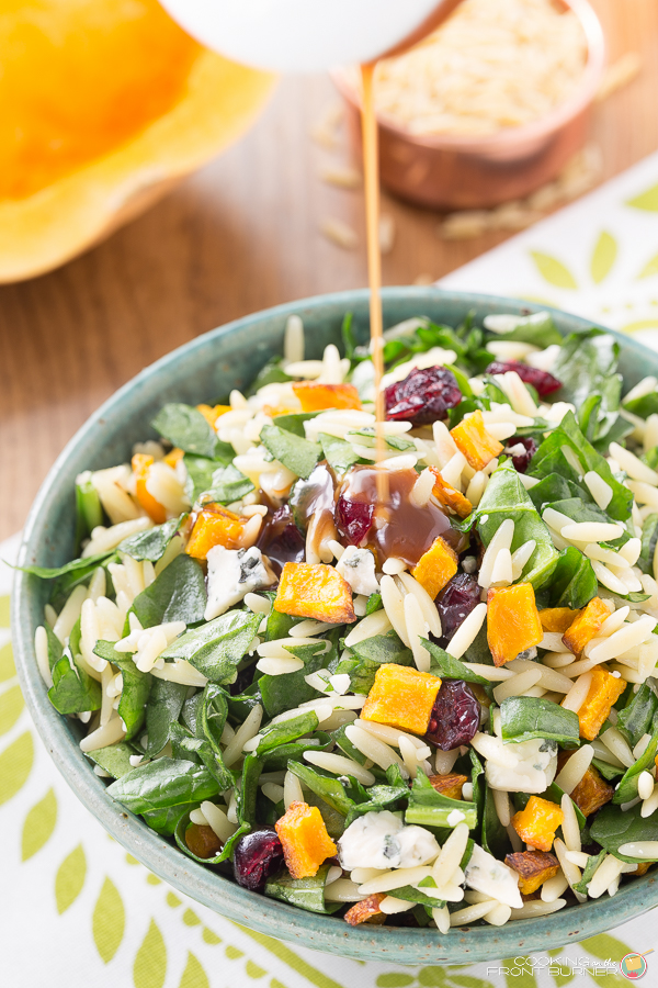 Butternut Squash Orzo Salad with Creamy Maple Vinaigrette | Cooking on the Front Burner