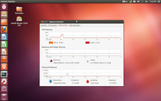 Ubuntu 12.04 desktop with System Monitor