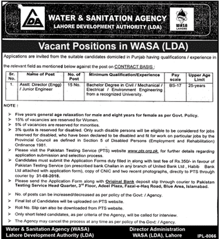 WASA Jobs Water And Sanitation Agency August 2018