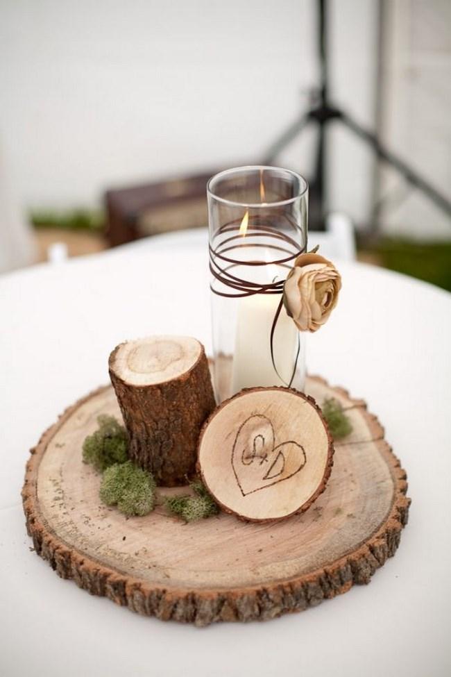 centros de mesa con rodajas de madera