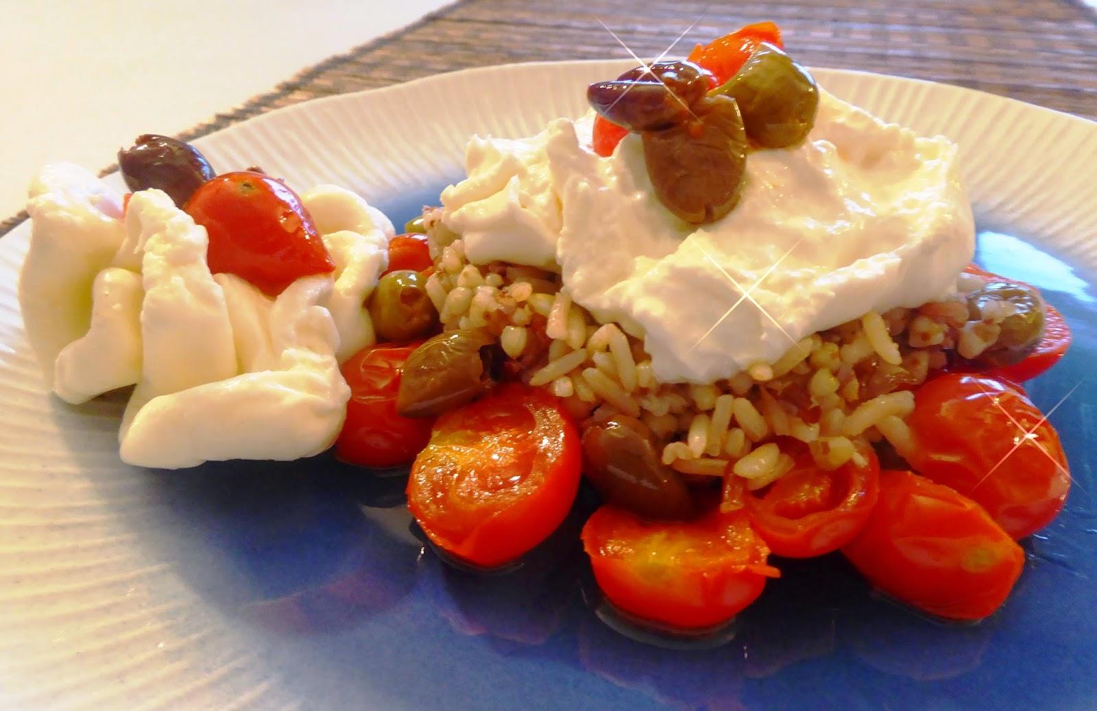 Gluten free: riso integrale, olive, burrata