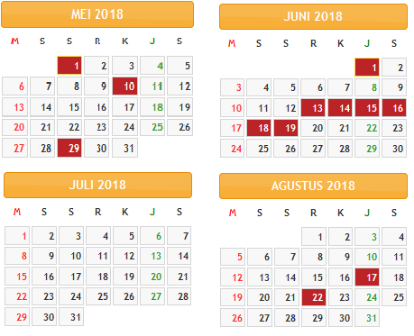 Kalender 2018 Indonesia Lengkap dengan Hari Libur Nasional ...