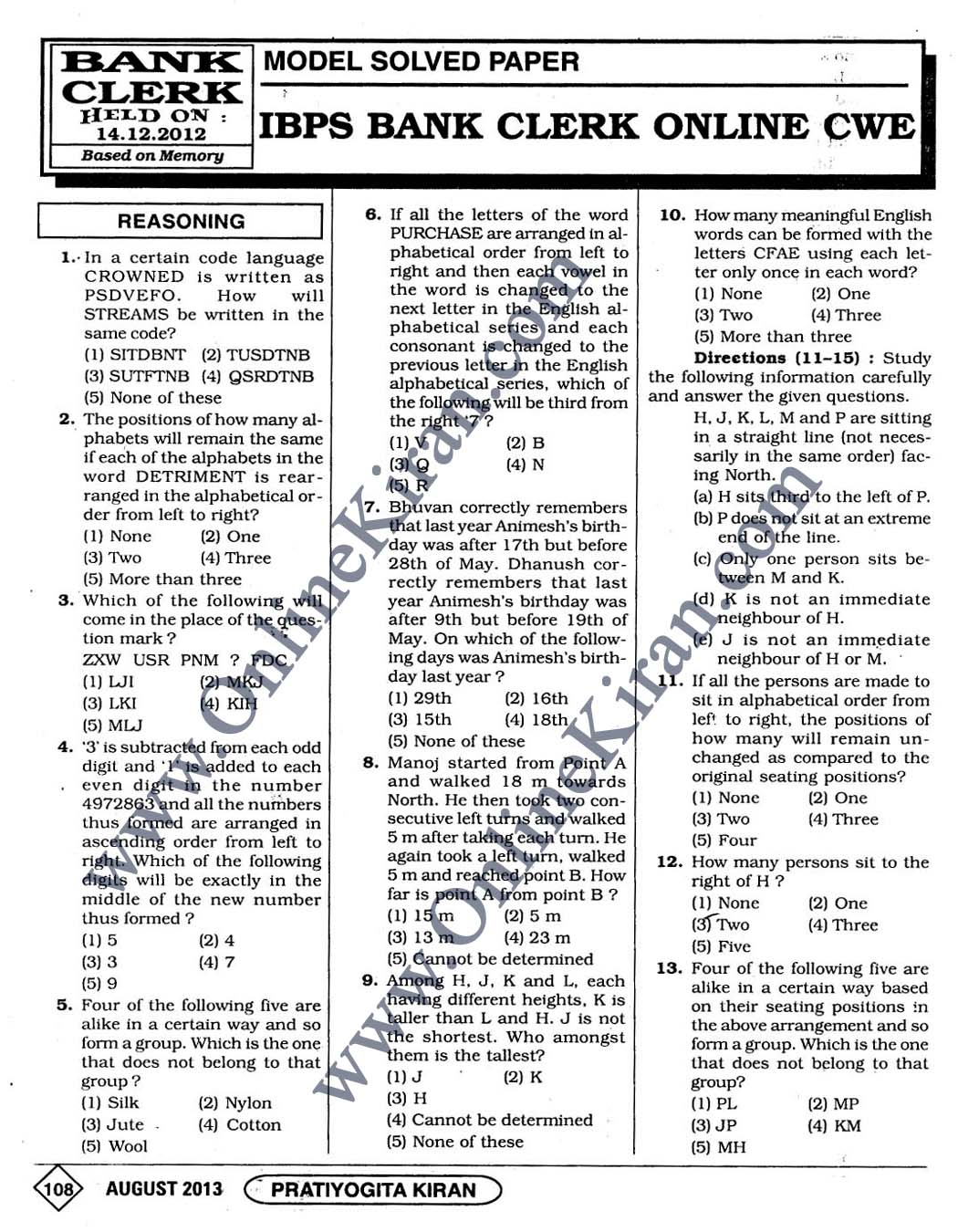 Ibps Clerk 2014 Model Papers Pdf