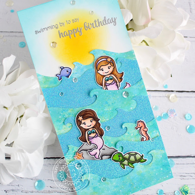 Sunny Studio Stamps: Catch A Wave Magical Mermaids Oceans of Joy Best Fishes Birthday Card Best Wishes Punny Card by Leanne West and Eloise Blue