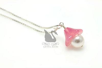Czech Pink Flower Blossom Pearl Pendant (P05-P)