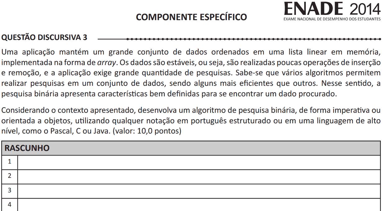 Questão do ENADE 2014 sobre busca binária