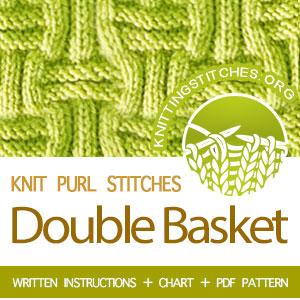 KNIT PURL STITCHES - Knit Basket Weave Stitch Pattern. Knit Basket Stitch Pattern. Basket weave Textured Stitch #Basketweave