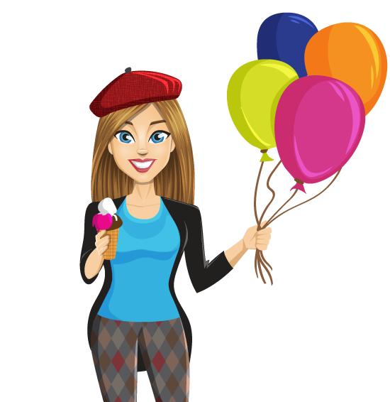 Joven turista con helado y globos