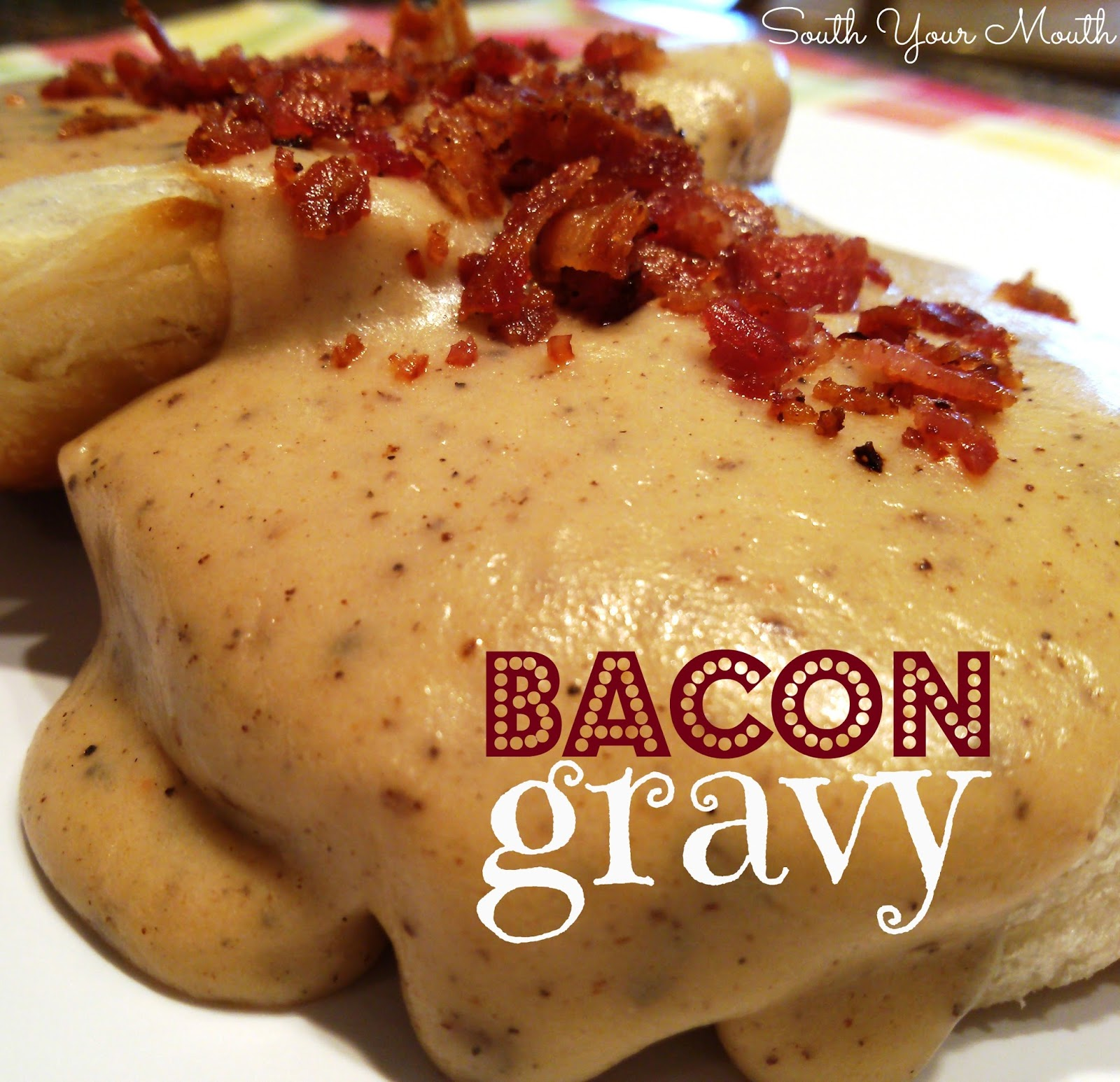 Rich country gravy made from bacon drippings served over biscuits or toast.