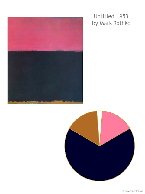 color scheme of navy, cognac and pink drawn from Untitled, 1953 by Mark Rothko