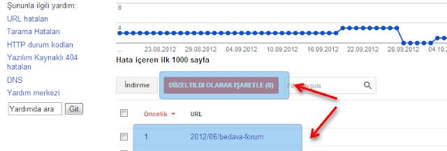 URL hatalı sayfalar penceresi