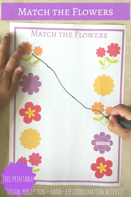 FREE Match the Flower Preschool Worksheet - included is a color and black and white version to help toddler, preschool and kindergarten age kids to match the same color style