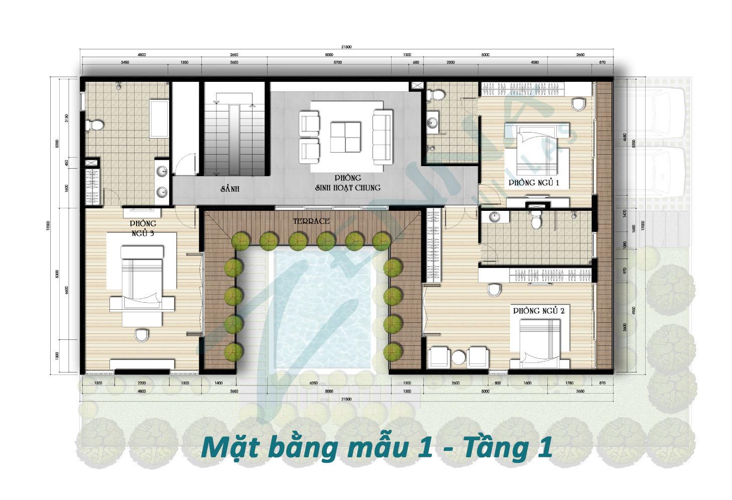Mặt bằng tầng 1 mẫu 1 biệt thự Zenna Villas