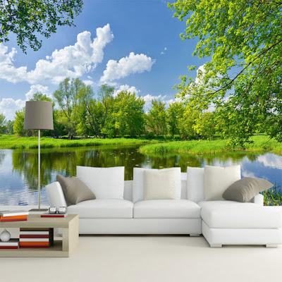 tapet landskap fototapet sjö träd himmmel fondtapet 3d natur vardagsrum