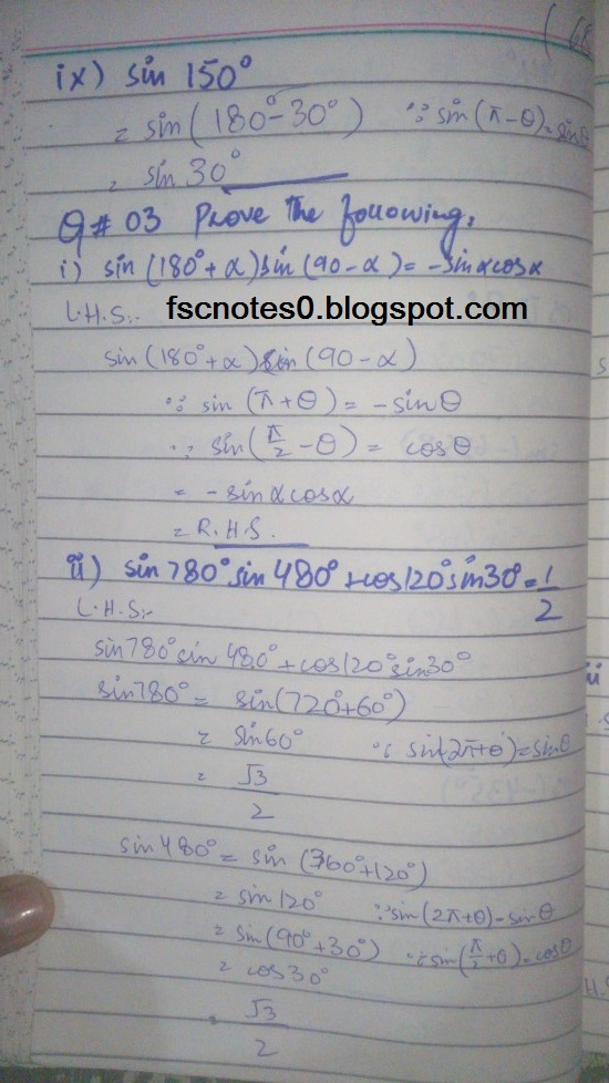 FSc ICS FA Notes Math Part 1 Chapter 10 Trigonometric Identities Exercise 10.1 Question 3 written by Asad Hussain & Ayesha Hussain