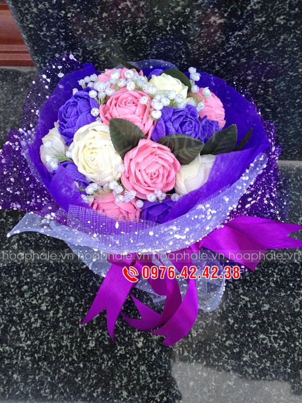 Bó hoa hồng giấy ba màu | hoa giấy nhún