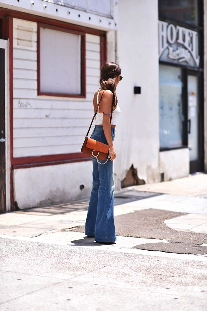 chloe faye shoulder bag, flare jeans, 70's style