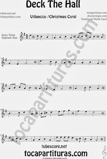 Partitura de Deck The Hall para Saxofón Soprano y Saxo Tenor Villancico Popular Christmas Carol Sheet Music for Soprano Sax and Tenor Saxophone Music Scores
