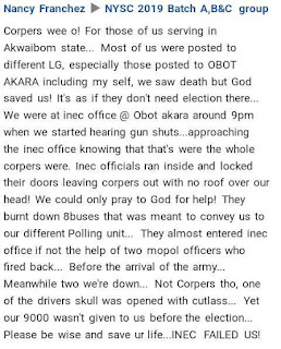 """""""INEC Officials Abandoned Us To Die"""" - Corps Member Narrates Her Ordeal"""