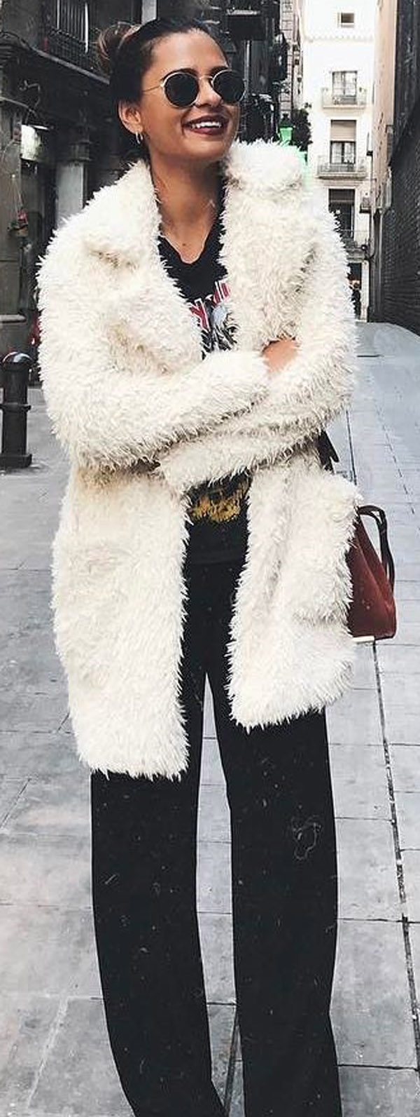 fur coat + flare pants