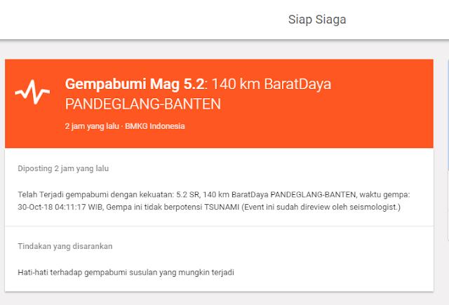 Innalillahi Wainailaihi Rojiun, Terjadi Gempa 5.2 SR di Pandeglang Banten