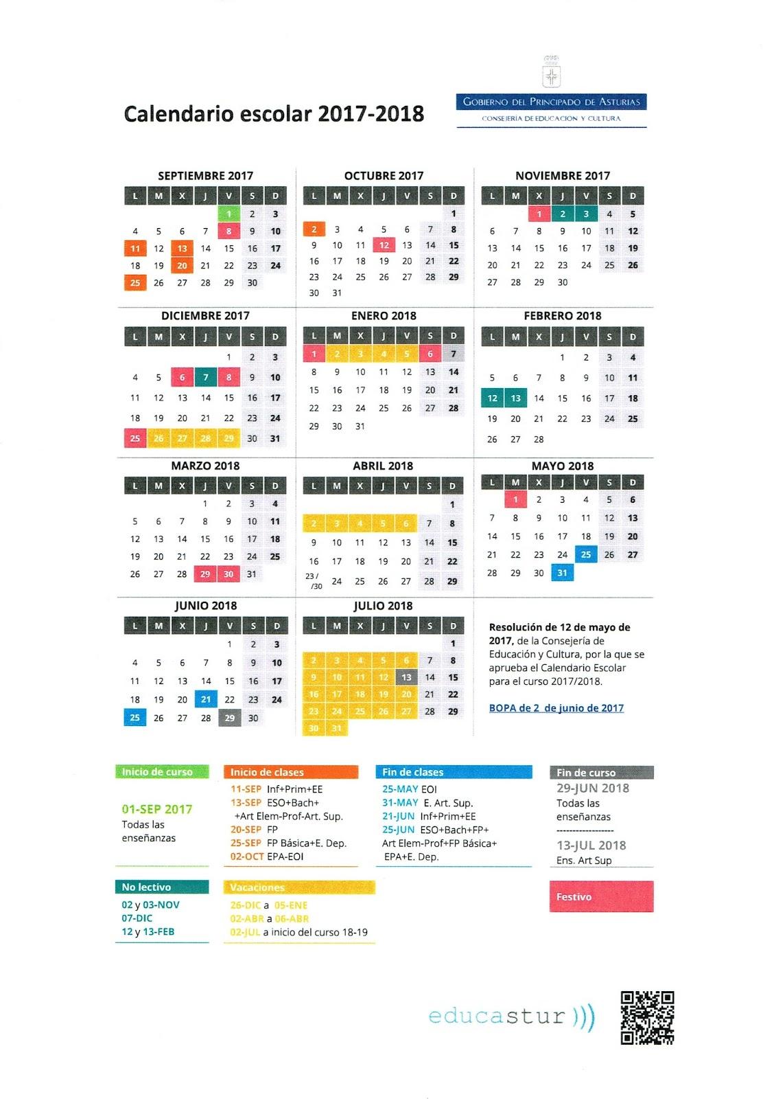 Calendario Escolar Asturias.Calendario Escolar Curso 2017 2018 Y Libros De Texto C P Moreda