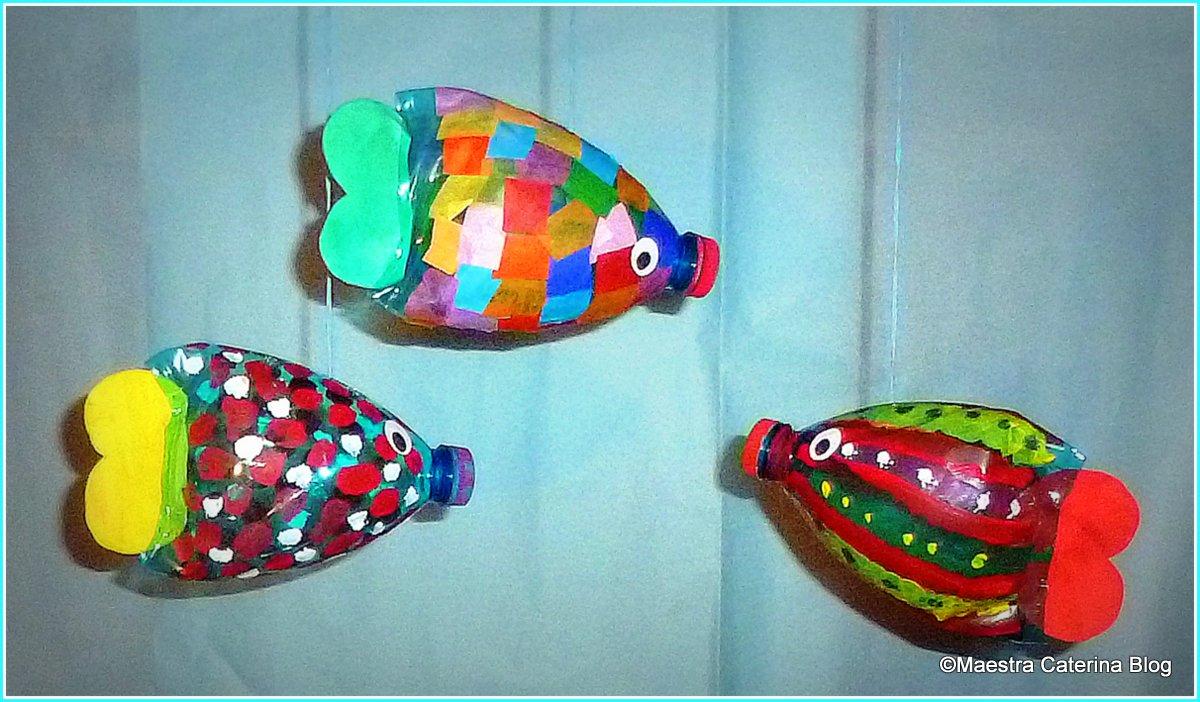 maestra caterina pesci con bottiglie di plastica