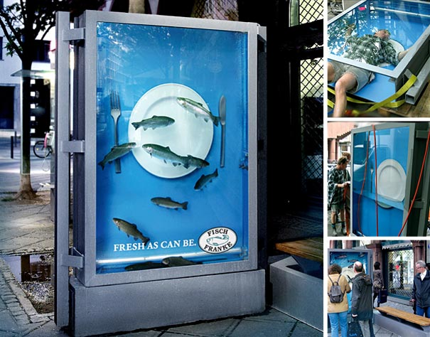 4. Fisch Franke Ad: Filled with Water and Real Fishes