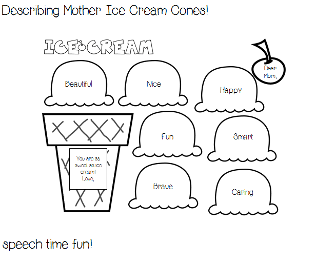 Reading Comprehension Stories: Describing Mother Ice Cream